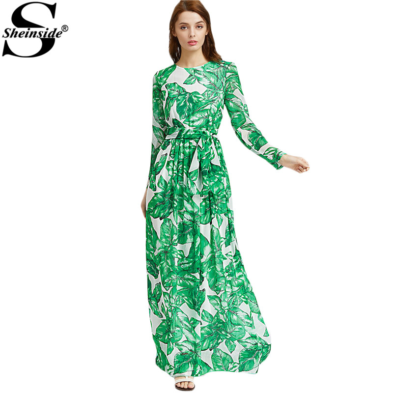 Sheinside Green Chiffon Maxi Dress Women Palm Leaf Print Casual Beach A-Line Dresses 2017 Long Sleeve Tie Waist Elegant Dress