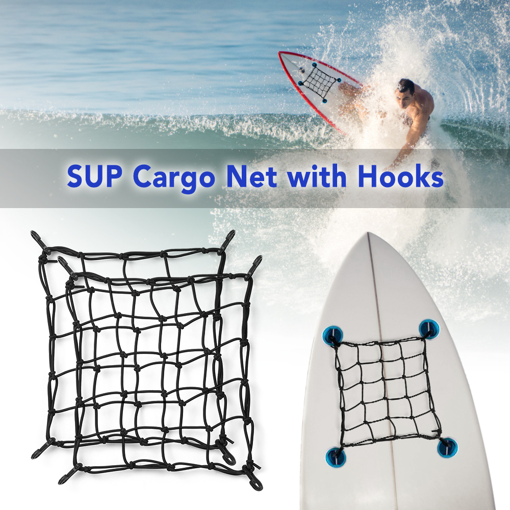 1 PCS / 2 PCS SUP Cargo Net Deck Storage Mesh Net Paddle Board Cargo Bungee Net With Hooks Kayak Accessories Boat Accessories