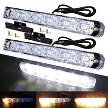 Sequential Flowing Yellow 6 LED Car Daytime Running Lights Driving Fog Light Car Styling Waterproof  DRL Bright Turning Signal цена в Москве и Питере