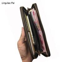LingJiao Pai Vintage Genuine Leather Men Wallets Coin Purse Travel Wallet