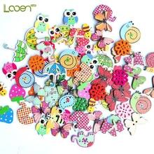50 Pcs Looen Bulk Mixed Animal Buttons 2 Holes Wooden Sewing Craft Scrapbooking Amazing Women DIY Tools