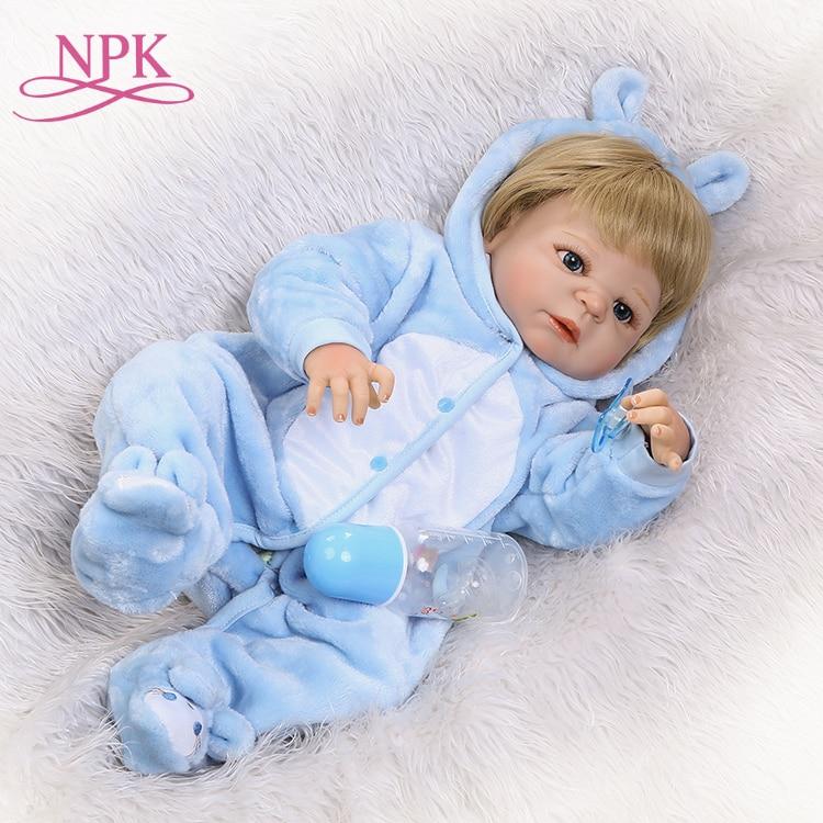 NPK 22inch 56CM reborn dolls with blonde hair full vinyl boy doll for children Christmas Birthday