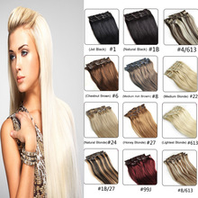 Clip In Human Hair Extensions 7PCS 70G 100G120G Clip In Hair Extensions 16″-26″ Brazilian Straight Human Hair Clip In Extensions