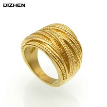 2017 New Trendy Female Luxury Genuine Stainless Steel Jewelry Gold/Silver Color Multilayer Wedding Rings For Women R17093