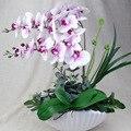 1 комплект  3 цвета  искусственная Орхидея  фаленопсис  purpleheart  белое желтое сердце  Цветочная композиция  цветок бонсай + Лист  без вазы