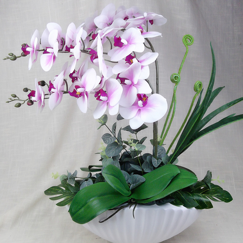 1set 3 Color Artificial Orchid Phalaenopsis Purpleheart White Yellow Heart White