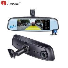 """Junsun ADAS detector de cámara Del Coche DVR 4G Cámara grabadora de Vídeo espejo 7.86 """"Android 5 con dos cámara dash cam Registrador cuadro negro"""