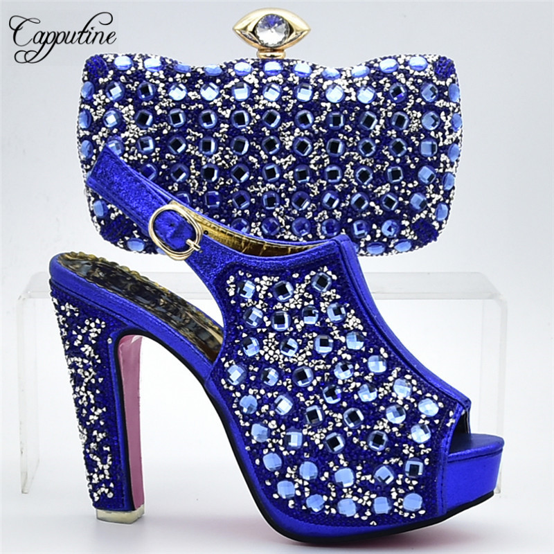 Capputine Fashion African Rhinestone Shoes And Bag Set Italian Design High Heels Shoes And Bag Set For Party On Stock DF-15 capputine italian fashion design woman shoes and bag set european rhinestone high heels shoes and bag set for wedding dress g40