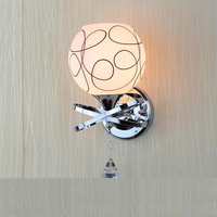 Chinese modern LED lamp creative simple headboard lamp round glass living room lamp led wall lighting fixture led crystal lamps