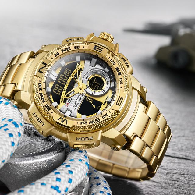 MIZUMS Military Wrist Watches LED Digital Sport Watch Men Gold Stainless Steel Band Dual Time Quartz Clock Man Relogio Masculino