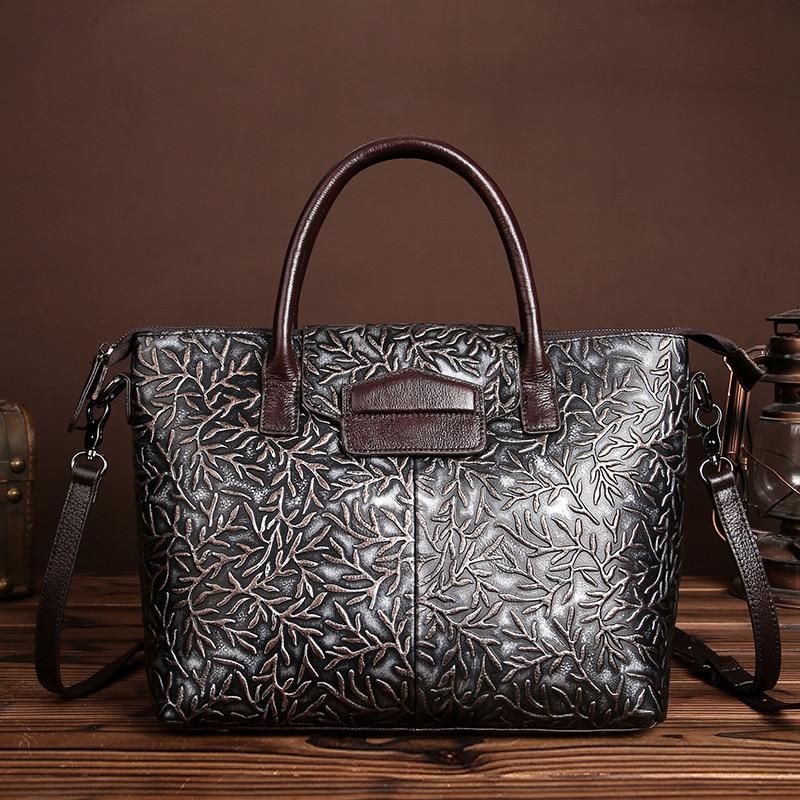 Genuine Leather New brush color embossed Ladies Satchel bag Retro fashion Women s handbag shoulder bag
