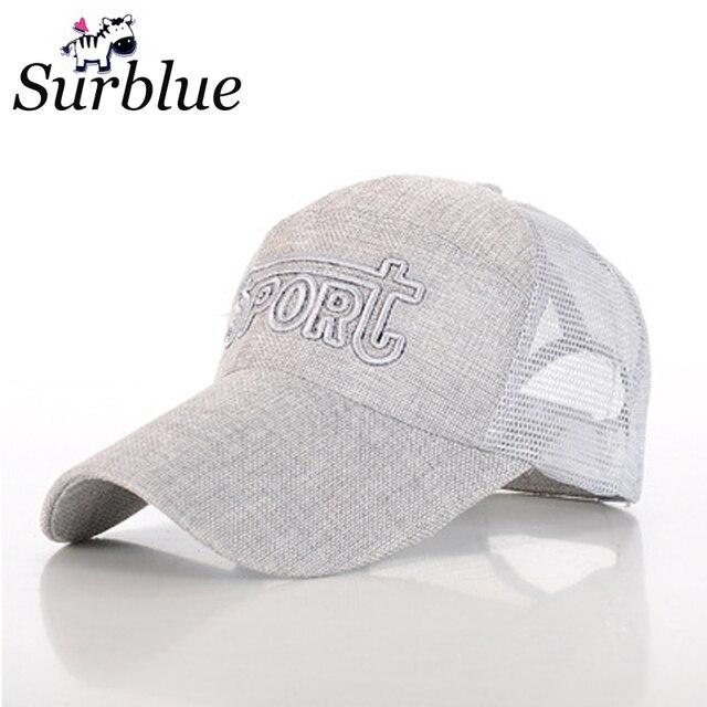 c92724f3640c1 Surblue 2017 summer fashion linen baseball cap Net surface breathable  unisex adult adjustable letters nylon fasterner tape