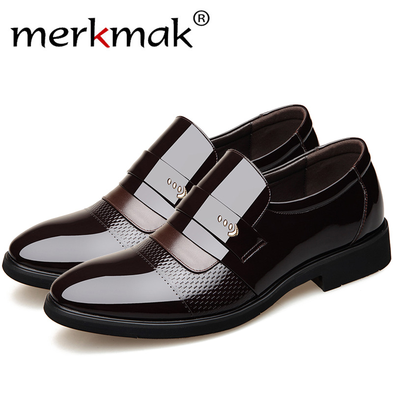 Merkmak Classic Dress Pointed Toe Shoes Men Leather Formal ShoesTop Quality Men Oxford Shoes Plus Size Wedding Party Men Shoes