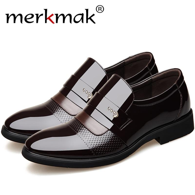 Merkmak Classic Dress Pointed Toe Shoes Men Leather Formal ShoesTop Quality Men Oxford Shoes Plus Size Wedding Party Men Shoes