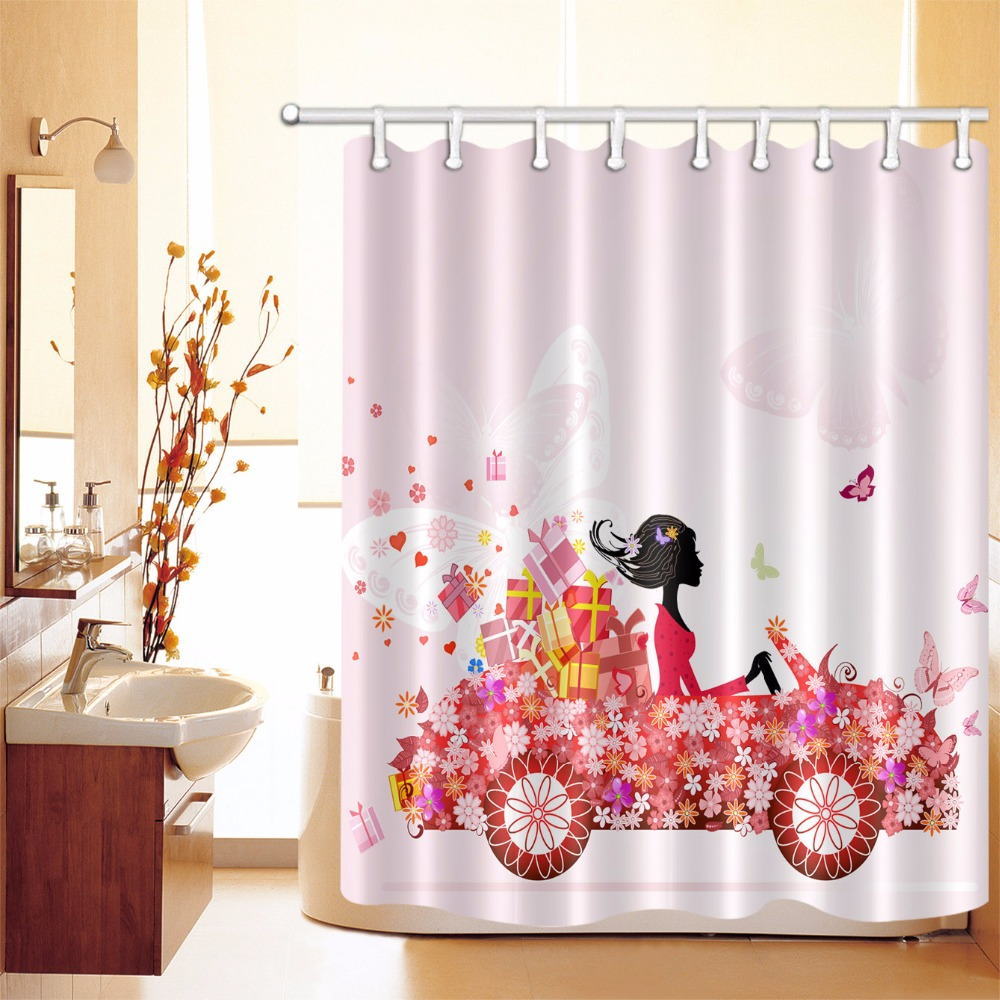 Butterfly and Pink Flower Bathroom Waterproof Fabric Shower Curtain /& 12 Hooks
