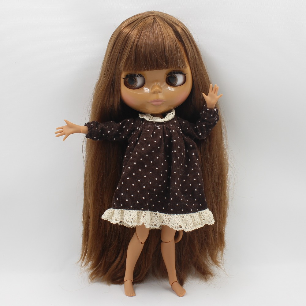 Neo Blythe Doll with Brown Hair, Dark Skin, Shiny Face & Jointed Body 3