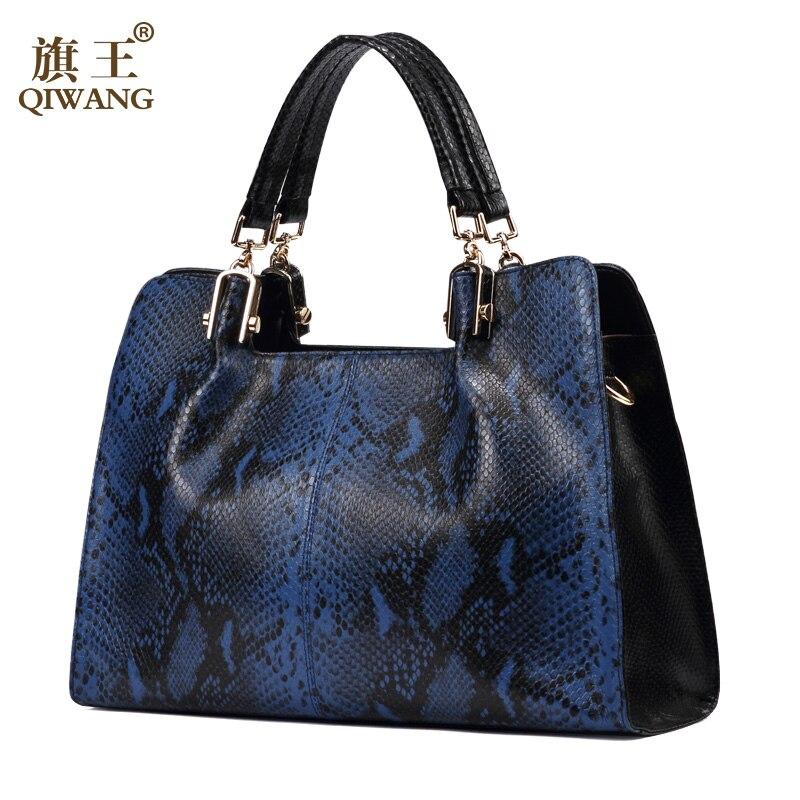 QIWANG Love Fashion Genuine Leather Bag Brand Design Ladies Shoulder Handbags Summer Blue Snake Pattern Cow Bag недорго, оригинальная цена