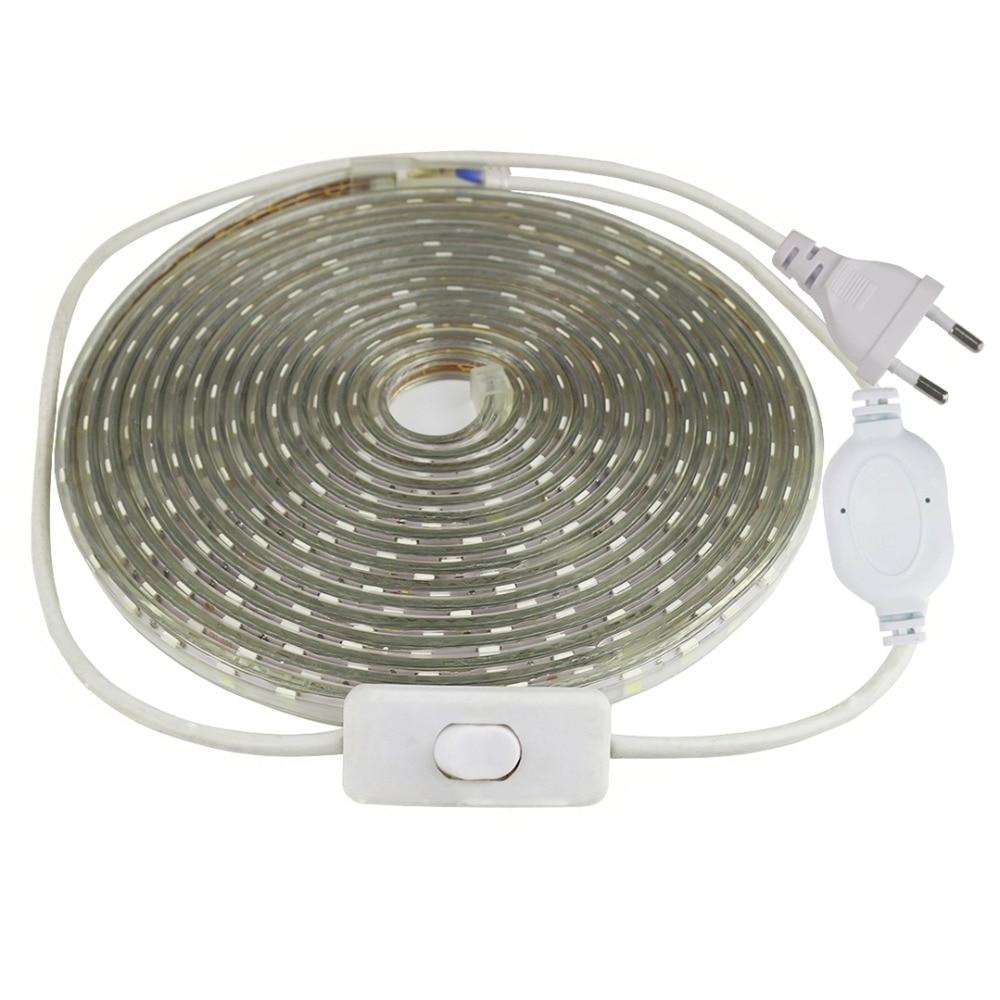 SMD 5050 LED bande 220 V AC avec interrupteur 60 LED s/m silicone tube IP67 bande flexible lumineuse LED imperméable ruban blanc chaud IO
