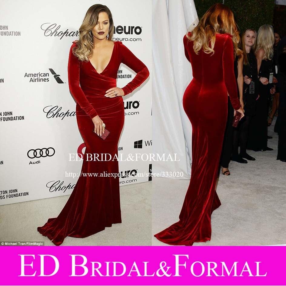Sirène col en V à Long velours rouge robes de soirée Khloe Kardashian tenue au 2014