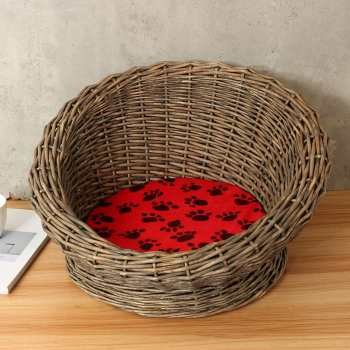 Round Woven Natural Wicker Pet Bed Basket for Cat/Kitten/Puppy/Dog House Mat with Removable Plush Cushion Pet Supplies