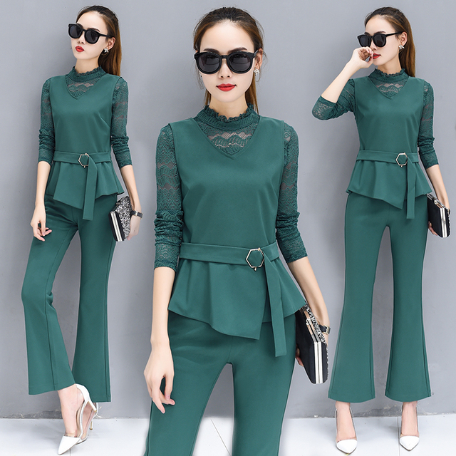 Autumn Fashion Office Women Suits New Three Piece Suit Lace T Shirt