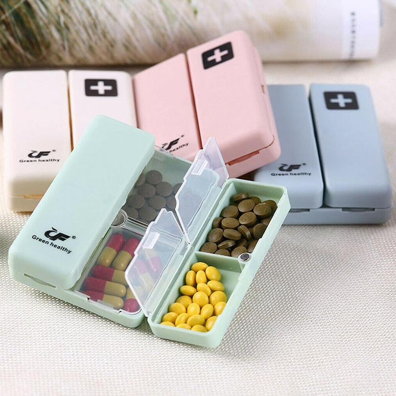 4 Colors Weekly Pill Box Magnet Lid Tablet Storage Split Seven Grids Case Capsules Vitamins Pill Box Splitter with Lids 7 Days image
