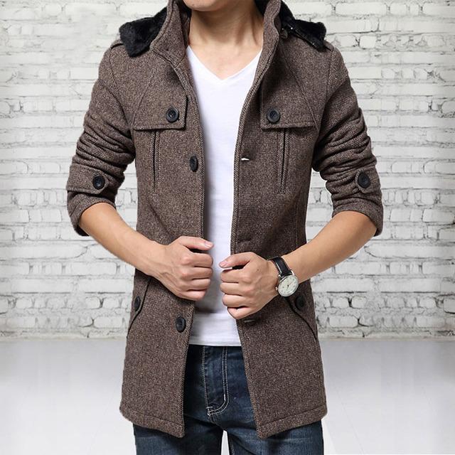 Nueva Llegada Cómoda Homme Para Hombre ropa de Otoño e Invierno de Lana Larga Capa Ocasional Chaquetas de Abrigo
