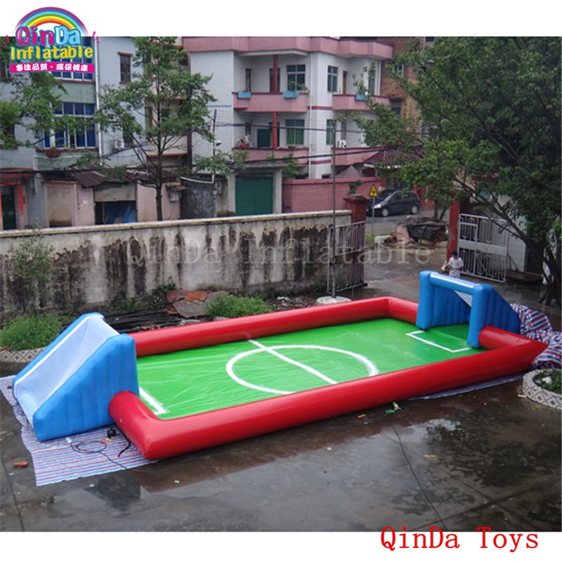Funny games inflatable beach toys football field ,free air blower inflatable water soap pitch  for adults and kids lake or ocean inflatable funny water sports game water trampoline with air pump and repair kit