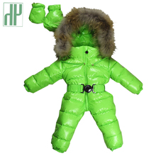20color Baby Rompers Winter infant clothing Thick Duck down girls jumpsuit baby boy fur collar snowsuit Outwear overalls HH