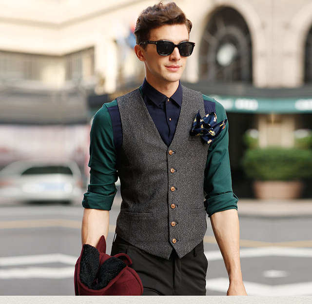 6eb0b8dac3 US $77.68 |CH.KWOK Men Jacket Sleeveless Beige Gray Brown Vintage Tweed  Vest Plaid Suit Vest Gilet Wedding Barque Party Formal Suits Vest-in Vests  ...