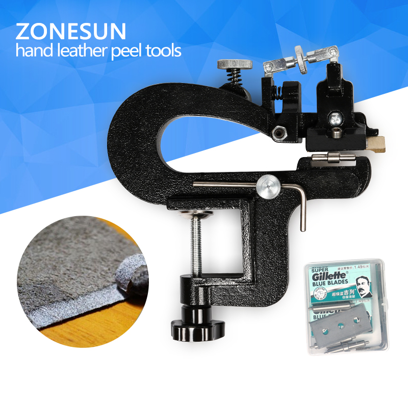 ZONESUN Leather paring device kid max 35mm width, Manual leather skiver hand leather peel tools, vegetable tanned leather peeler