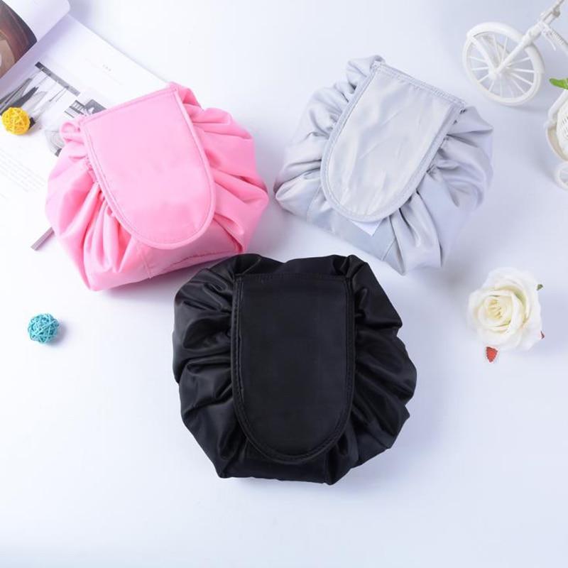 GLHGJP Solid Shrink Women Cosmetic Bag Polyester Drawstring Makeup Case Large Capacity Toiletry Wash Bag TravelStorage Organizer