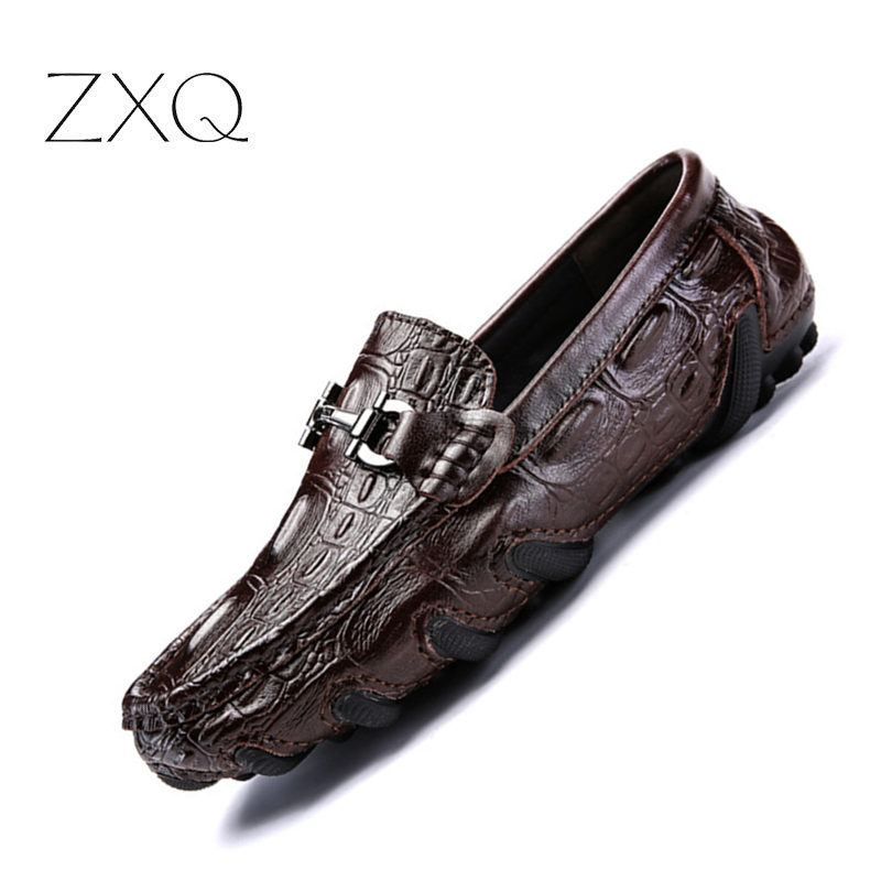 Leather Men Dress Shoes Crocodile Print Slip on Men Formal Business Shoes Men Oxford Shoes For Men Party Marriage Shoes