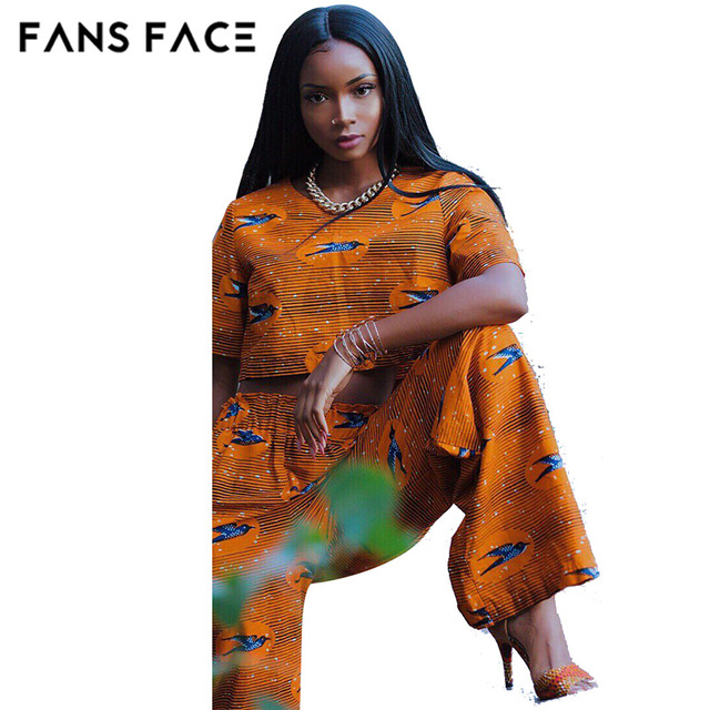 FANS FACE Summer Traditional African Clothing 2 Piece Set Women Africaine Print Dashiki Dress African Clothes indian bazin riche
