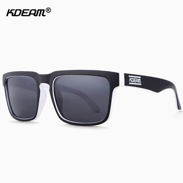 bc00c1c282 KDEAM Color Blanco y Negro hombres gafas de sol polarizadas espejo gafas de  sol con cráneo