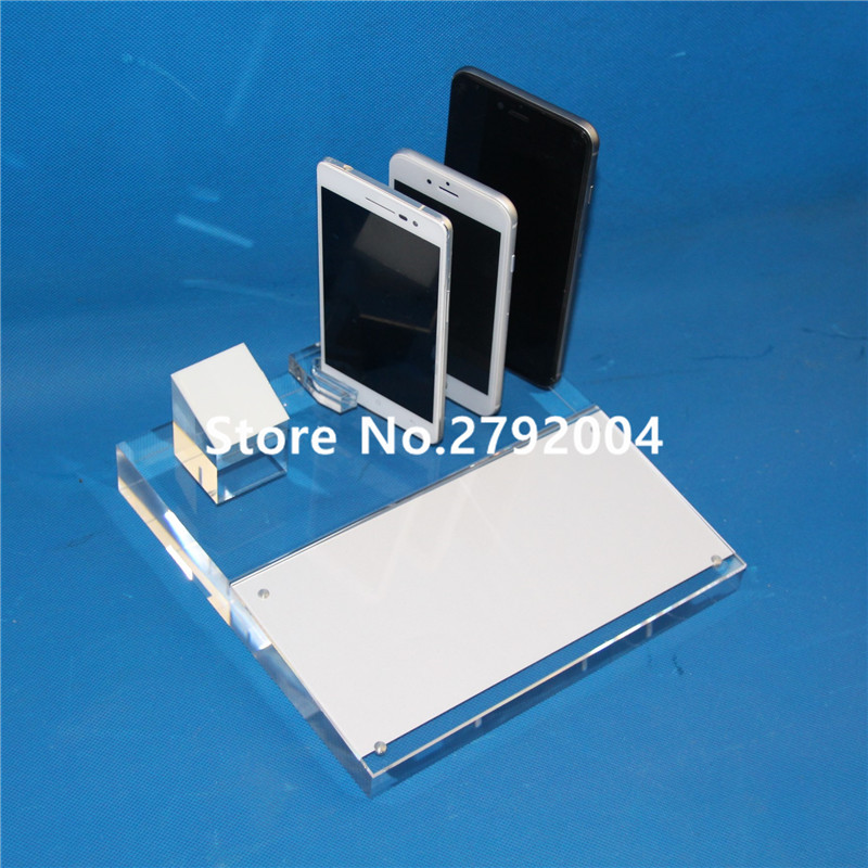 Acrylic security clear cellphone stand holder for phone shop display 21*21CM clear acrylic a3a4a5a6 sign display paper card label advertising holders horizontal t stands by magnet sucked on desktop 2pcs