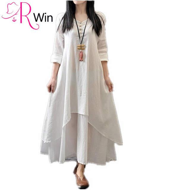 2d3cd52b57bf Women Casual Loose Long Dress 95% Cotton A Linen Flax dresses Summer Dress  Solid Color