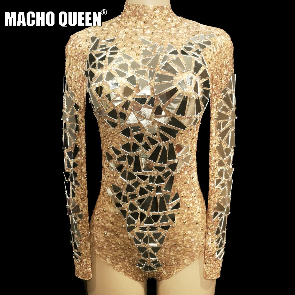 Drag Queen Sparkly Rhinestone Mirror Bodysuit Crystal Sexy See Through Jumpsuit Carnival Dance Stage Performance  Costumes Party