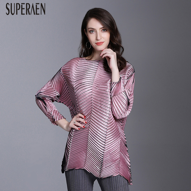 SuperAen Fashion Women's New T Shirt Spring New 2019 Loose Pluz Size T Shirt Female Solid Color Casual Wild Women Clothing-in T-Shirts from Women's Clothing    1
