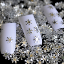 Nail Design DIY materials nail silver snow snowflake Decoration font b PET b font Snow flake