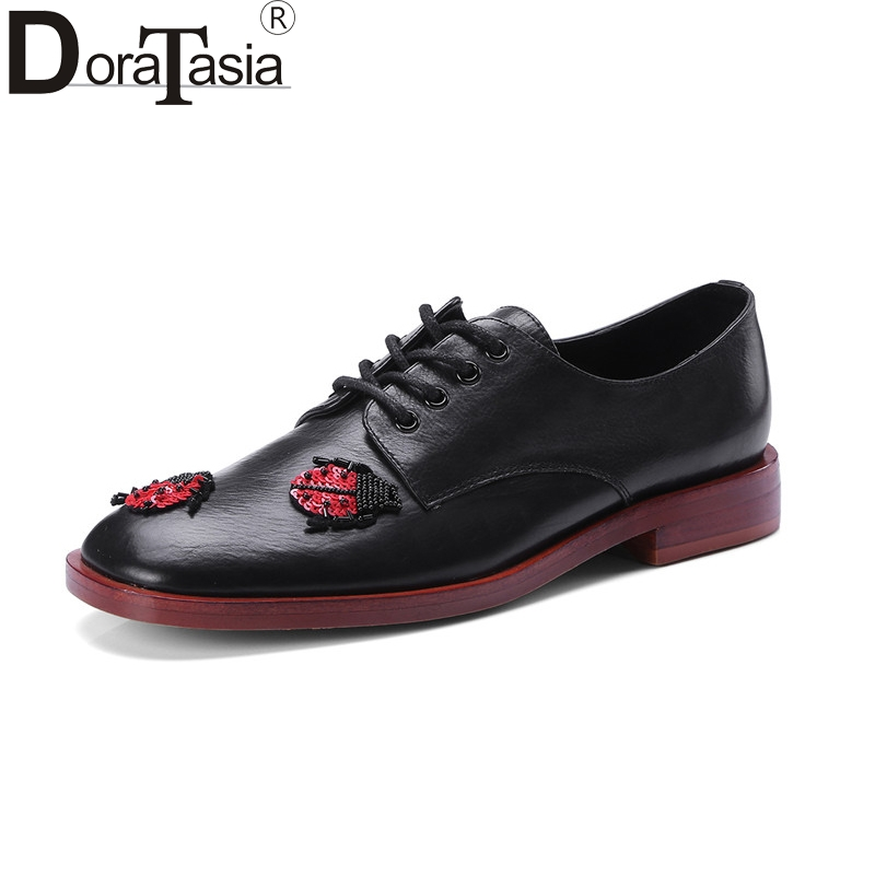 DoraTasia New women's Genuine Leather Flat lace-up Solid Shoes Woman Casual Spring Autumn Flats Big Size 34-39 spring women red shoes flat pointed toe genuine leather high 2017 new woman shoes high quality casual flats big size 41 42 43