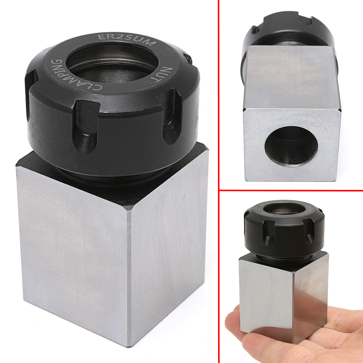 1pc ER-25 Square Collet Chuck Holder Block 3900-5123 35x65mm For Lathe Engraving Machine 1pc square er40 collet chuck block holder 3900 5125 for cnc lathe engraving machine cross hole drilling