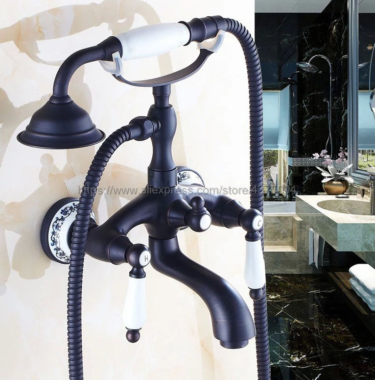 Black Oil Rubbed Brass Bathtub Faucets Hand Rain Shower Head Tap Luxury Ceramic Telephone Wall Bath Faucet Ntf532