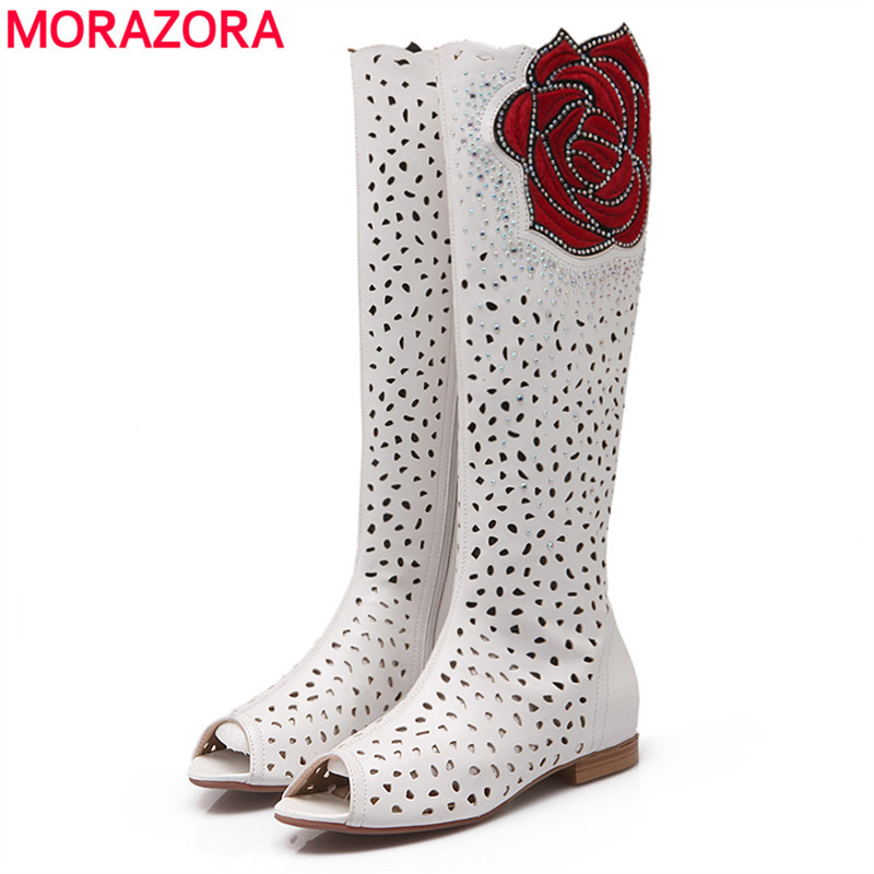 MORAZORA 2018 new high quality cut outs women's summer boots high heels gladiator knee high boots solid color ladies shoes woman morazora 2018 new high quality cut outs women s summer boots high heels knee high women sandals solid color ladies shoes woman