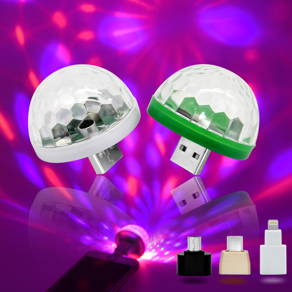 SOLOLANDOR Mini USB Led Party Lights Portable Crystal Magic Ball Home Party Karaoke Decorations Colorful Stage LED Disco Light