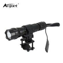 Anjoet lanterna tática tática tática 2000 lúmens, t6 501b, para caça, espingarda, iluminação, suporte para arma de tiro + suporte tático + controle remoto interruptor de interruptor