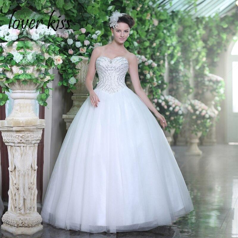 Lover Kiss Vestidos Novia 2018 Sparkly Strapless Wedding Dress