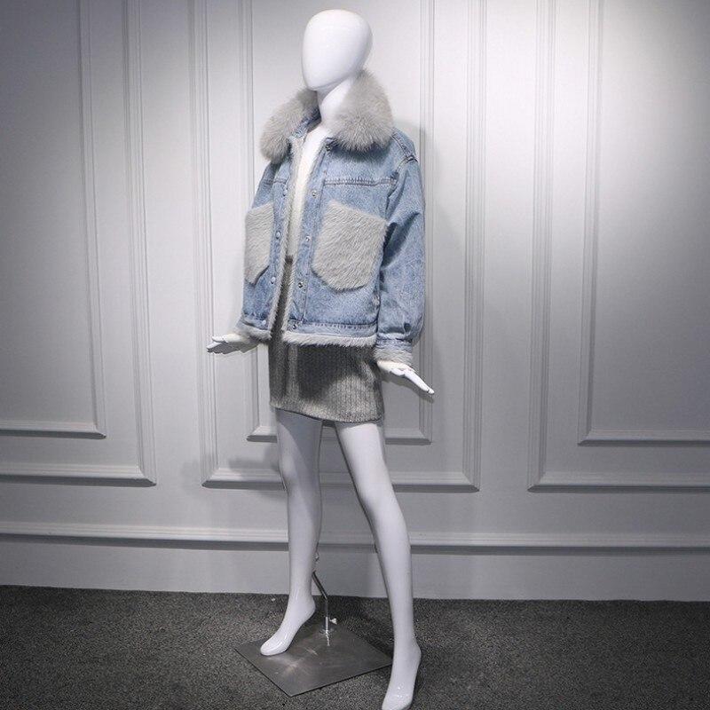 2019 coréen grandes poches réel fourrure de renard col Denim vestes femmes mode hiver chaud polaire coton court Jeans manteaux Streetwear - 3