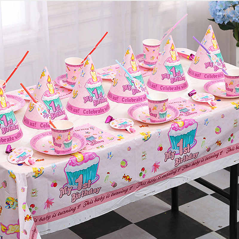 Baby Kids 1st Birthday Party Decoration Supplies Pink and Blue Tableware Set for 10 people Plate Straw Hat for Girls Boys