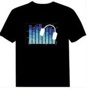 Sound Activated LED Shirt Blouse Light Up And Down Flashing Equalizer EL Lover For Rock Disco